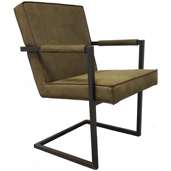 Esszimmerstuhl BULL Echtleder Vintage Green, Stuhl mit Armlehnen, Schwingstuhl mit Eisen-Fuß