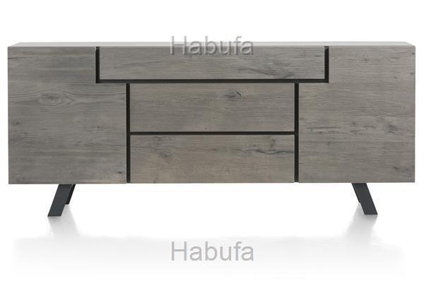 Saruna Sideboard 80x220x42cm - Eichenholz - Grau