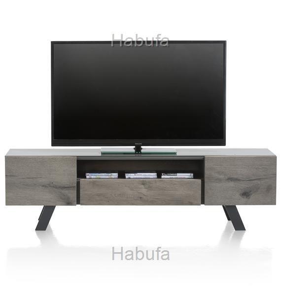 Saruna Lowboard 45x160x42cm - Eichenholz - Grau