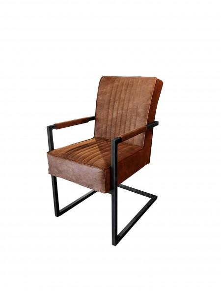 Stuhl Dave mit Federkern-Polsterung und Armlehne - Braun