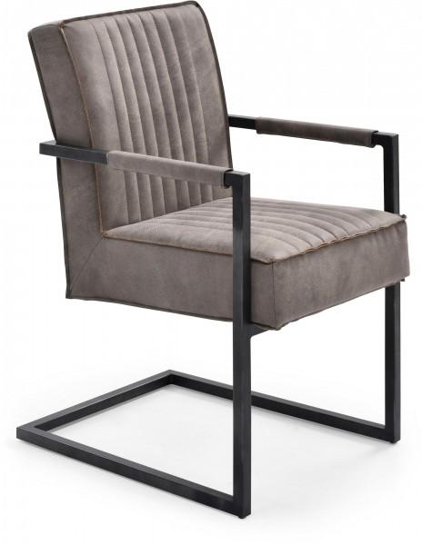 Stuhl Dave mit Federkern-Polsterung und Armlehne - Grau